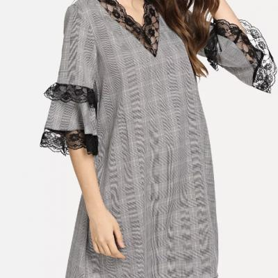 Robe plaid dentelle boho bohème chic DRESS1484