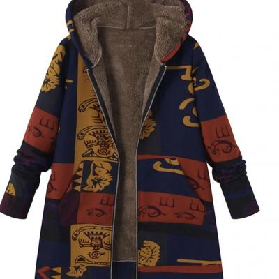 Manteau court casual imprimé ethnique boho boheme chic COAT0204