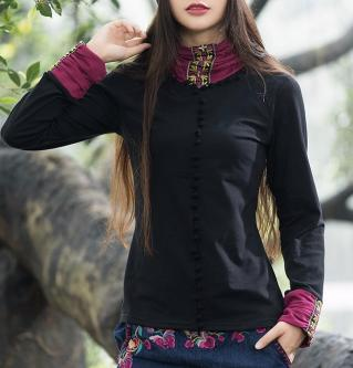 Top brodé col manches boho boheme chic TOP0476