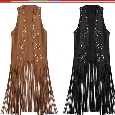 Gilet long franges clouté boho boheme chic GILET0356