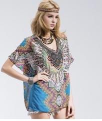 Tunique imprimée encolure bijou boho boheme chic TUNIC0483
