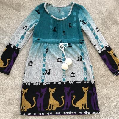 Robe courte imprimée chats boho boheme chic DRESS1080