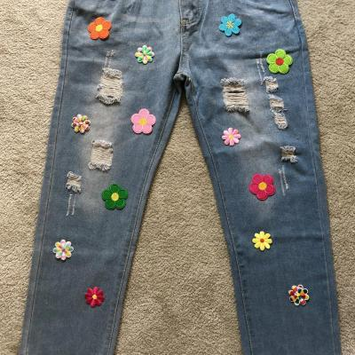Exclusivité jeans flowers hippie coquillages boho bohème chic JEANS0228
