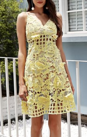Robe mi longue dentelle jaune boho boheme chic DRESS1621