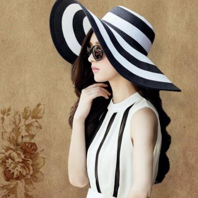 Chapeau larges bords noir et blanc boho boheme chic HAT0037