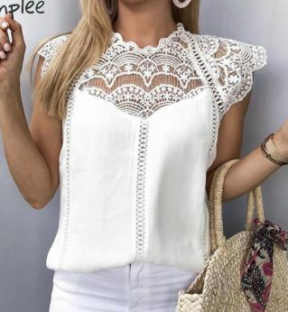 Top dentelle blanc cassé boho boheme chic TOP0514