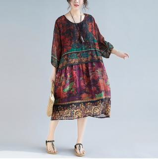 Robe imprimée vintage boho bohème chic DRESS1686