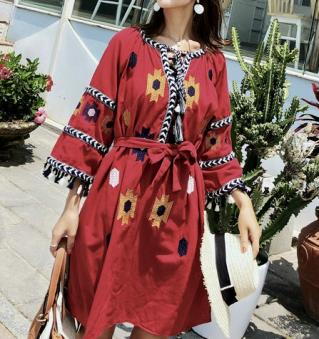 Robe courte brodée  boho boheme chic DRESS1693