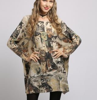 Pull tunique chat ample boho boheme chic PULL0490