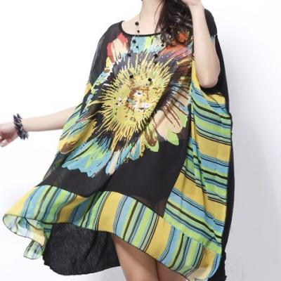 Robe tunique imprimée soleil boho boheme chic dress1294