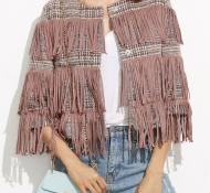 VESTE TWEED FRANGES BOHO BOHEME CHIC G0226