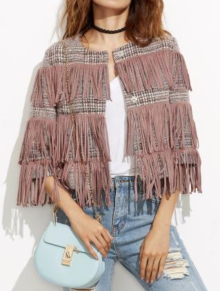 Veste tweed franges boho boheme chic