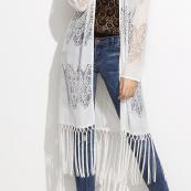 GILET LONG DENTELLE FRANGES BOHO BOHEME CHIC M0186