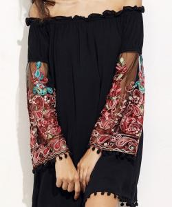 ROBE EPAULES DENUDEES MANCHES BRODEES  BOHO BOHEME CHIC D1200