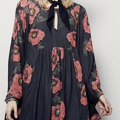 Tunique big flowers marque boho boheme chic TUNIC411