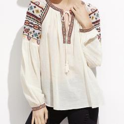 TOP BLOUSE BRODE BOHO BOHEME CHIC E0183