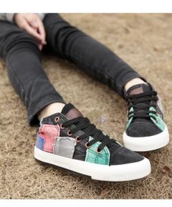 CHAUSSURES TENNIS PATCHWORK BOHO BOHEME CHIC I0075
