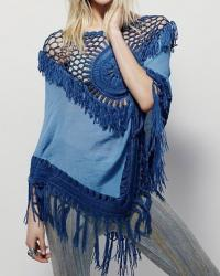 TUNIQUE PONCHO CROCHET FRANGES BOHO BOHEME CHIC F0288