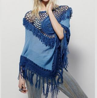 Tunique poncho franges crochet boho boheme chic tunic0288