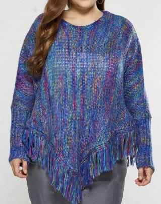 Poncho franges bleu boho boheme chic sweat0188
