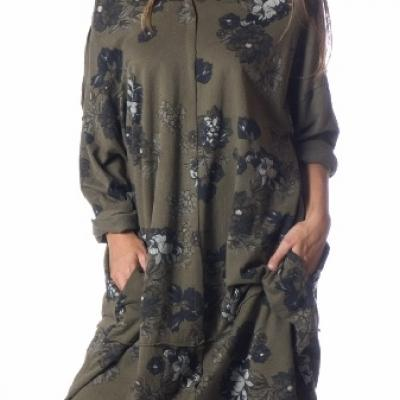 ROBE SWEAT SUPER LOOSE IMPRIME FLEURS 100 % BOHO BOHEME CHIC D1285