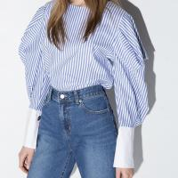 Hdy haoduoyi womens navy style striped lantern sleeve top shirts zipper fashion loose spring blouses for