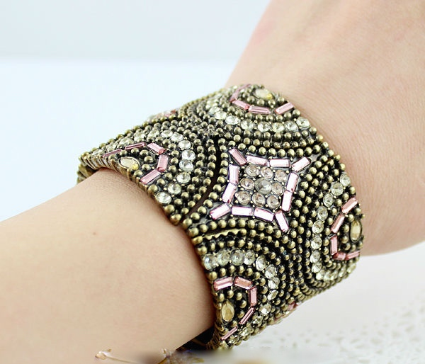 Hot sale fashion spring designer indian style colorful rhinestone and bead bracelets and bangles for women