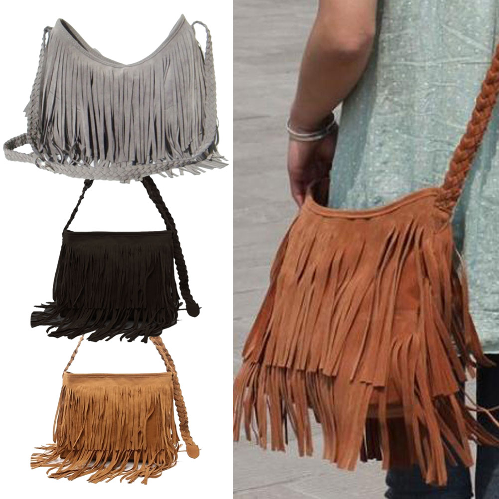Hot sale fashion women suede weave tassel shoulder bag messenger bag fringe handbags high quality 1