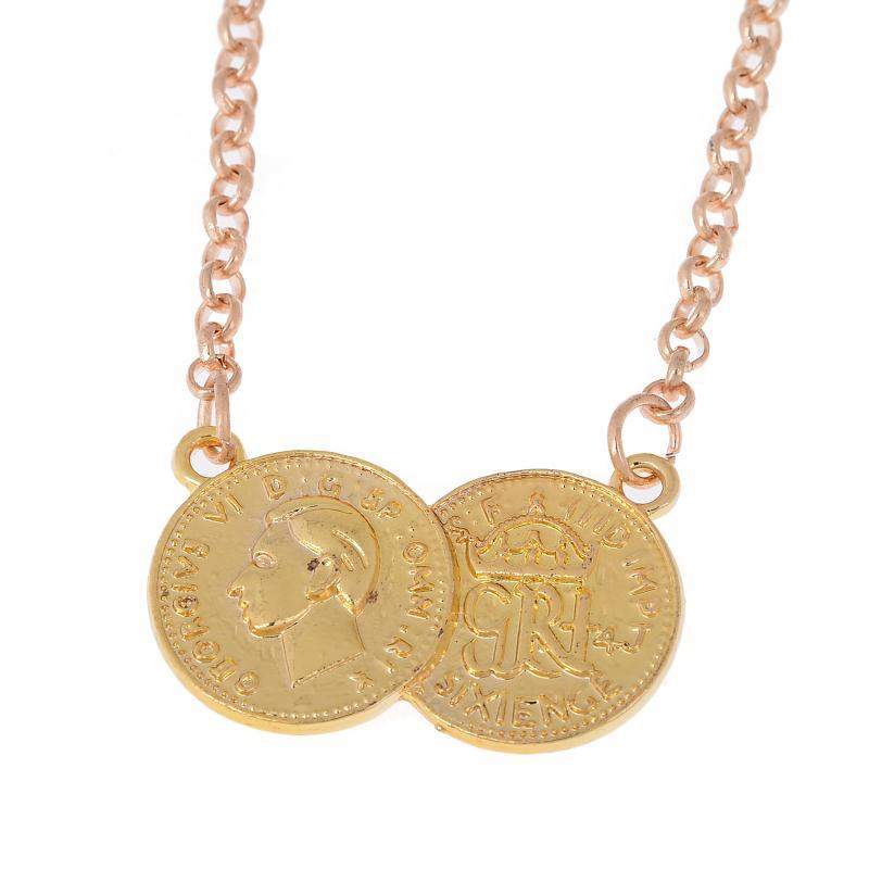 Hot sale new arrivel lucky double coins pendant necklace gold silver plated sweater chain choker necklace 1