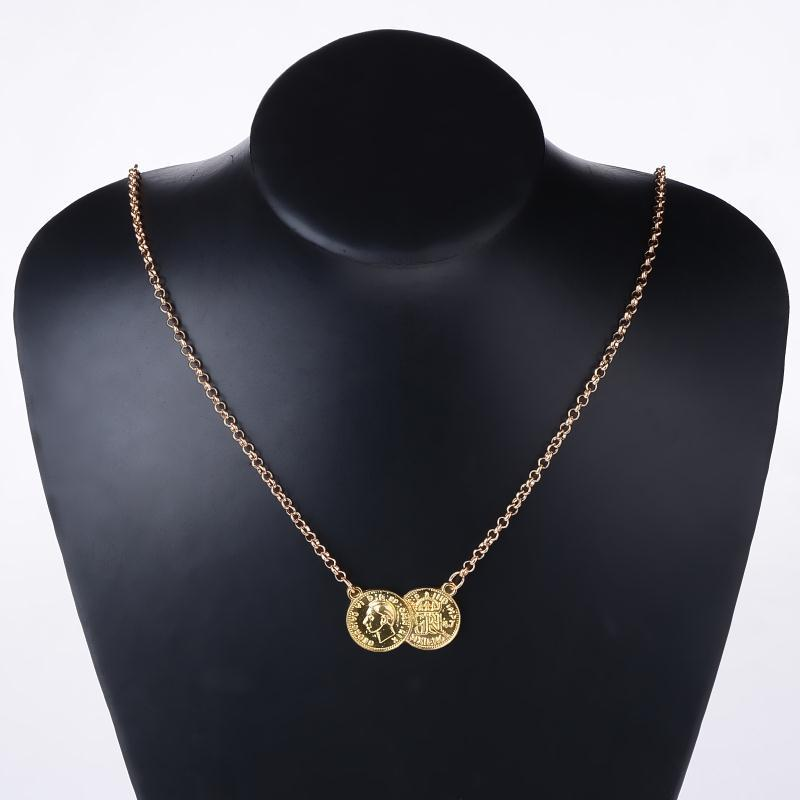 Hot sale new arrivel lucky double coins pendant necklace gold silver plated sweater chain choker necklace 2