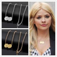 Hot sale new arrivel lucky double coins pendant necklace gold silver plated sweater chain choker necklace