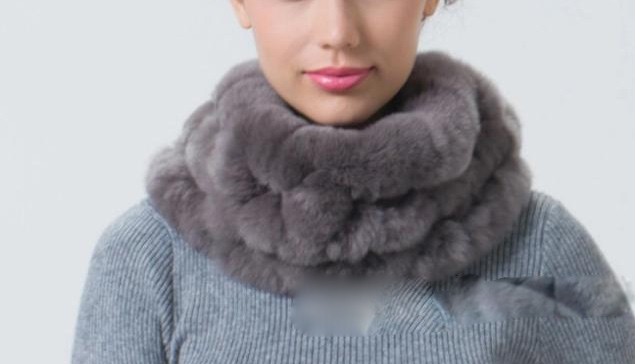 Hot sale real fur scarf female handmade genuine rex rabbit fur scarf women winter fur wraps