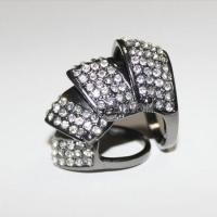 Hotselling rhinestoned crystal hip hop chevron knuckle ring size 7 1