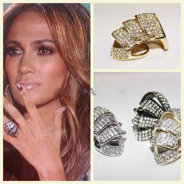 Hotselling rhinestoned crystal hip hop chevron knuckle ring size 7