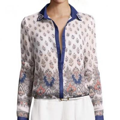 TOP BLOUSE CELEBRITES PERLES COL BOHO BOHEME CHIC F0116