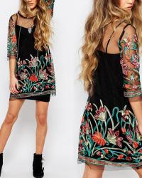 ROBE BRODEE 2 PIECES BOHO BOHEME CHIC D1121