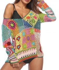Top pull crochet multicouleurs boho bohème chic  TOP0495