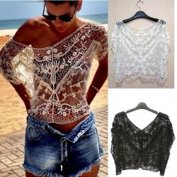 TOP COURT CROCHET BEIGE BOHO BOHEME CHIC F0388