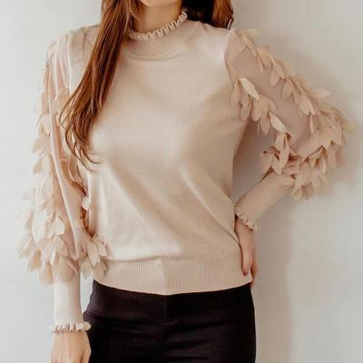 PULL BEIGE ROSE MANCHES PETALES BOHO CHIC BOHEME PULL0185