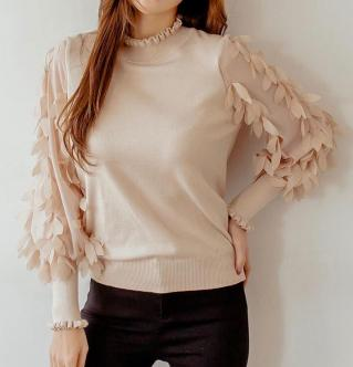 Pull beige manches pétales boho boheme chic PULL0185