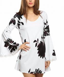 ROBE COURTE AMPLE MANCHES AMPLES FLOWERS BOHO BOHEME CHIC D0880