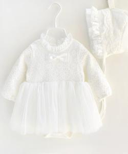 ROBE BODY ENFANT BAPTEME CEREMONIE + BONNET BOHO BOHEME CHIC DENTELLE D1371