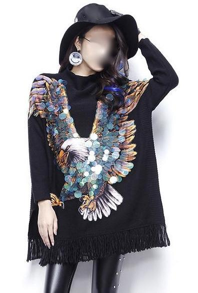SWEAT PULL FRANGES AIGLE PASTILLES BOHO BOHEME CHIC CELEBRITES M0149