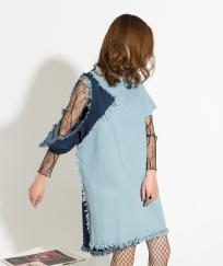 ROBE JEAN MANCHE DECHIREE BOHO BOHEME CHIC DRESS1409