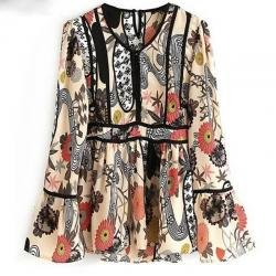TOP BLOUSE IMPRIMEE RETRO BOHO BOHEME CHIC F0372