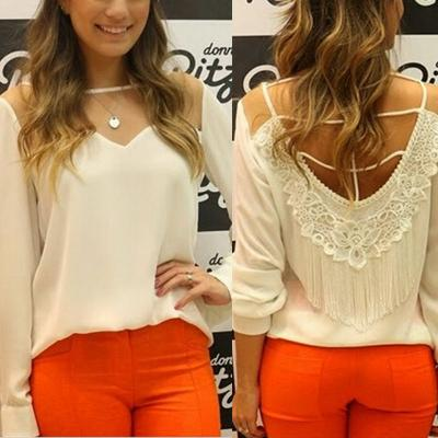 BLOUSE TOP MOUSSELINE DENTELLE DOS BOHO BOHEME CHIC F0164