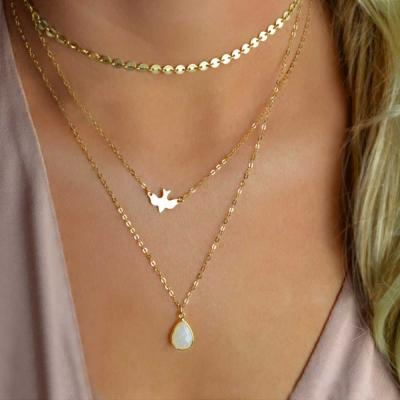 Collier 3 rangs oiseau boho bohème chic NECK0576