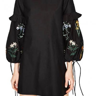 ROBE NOIRE EVASEE MANCHES BRODEES LACAGE BOHO BOHEME CHIC D1232