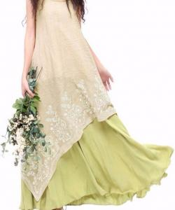 ROBE LONGUE SUPERPOSEE BRODEE BOHO BOHEME CHIC D1348