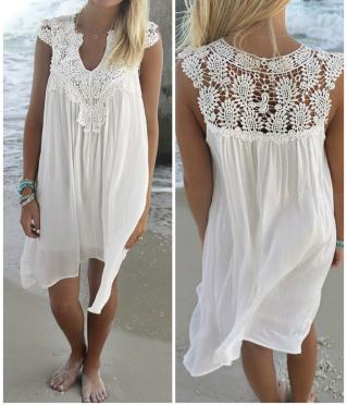 Robe de plage blanche dentelle boho boheme chic dress0994